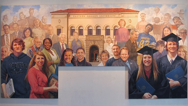 mural, figurative, portraits, architecture, building, people, students