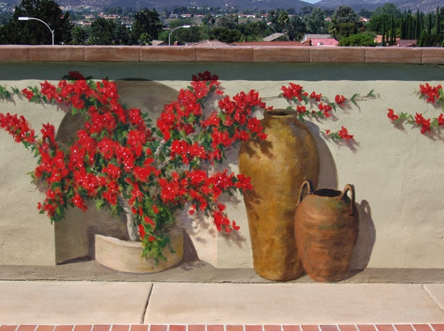 Mural, exterior mural, fool the eye, trompe l'oeil, plants, pottery