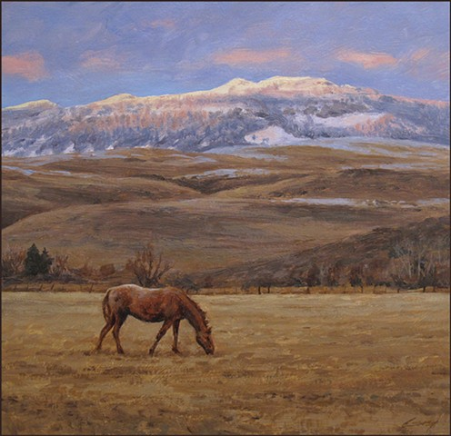 landscape, horse, realist_painting, winter, fields, mountains, snow, nature