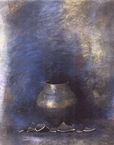 Broken vessel with shards, abstract gestures, impressionist, realist