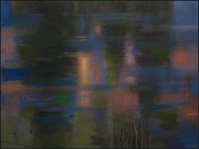 oil, reflections, trees, ice, nature, dark, blues, abstract