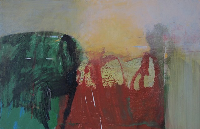 Oil, abstract, expressionist, green, yellow, grey, rust, painterly, atmosphere, atmospheric