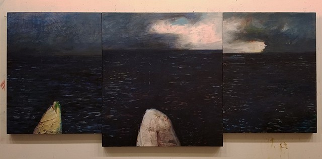 acrylic, abstract, semi-abstract, seascape, triptych, black, blue, brooding, dark, mystical