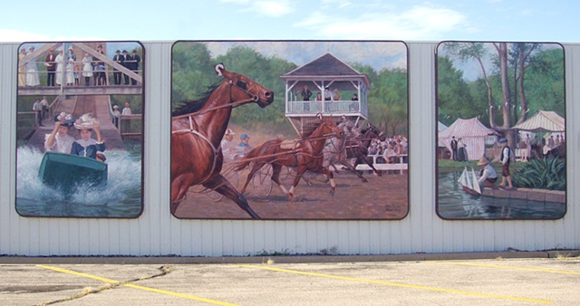 Mural, exterior mural, old-time fair, historical illustration, horse race, water slide