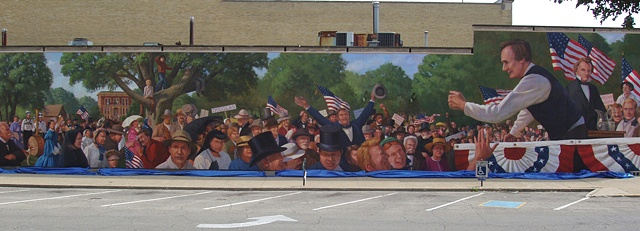 Mural, exterior mural, historical, illustration, speech, large crowd