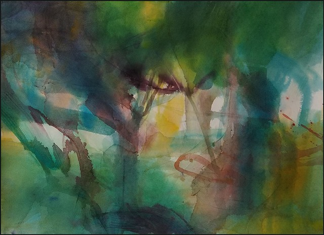 watercolor, abstract, contemporary_art, colorful, nature, fluid, energy, forest, woods, green