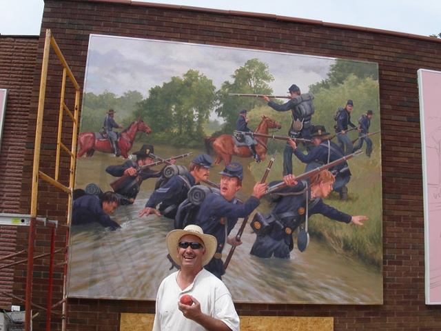 Mural, exterior mural, artist at work, historical illustration, Civil War