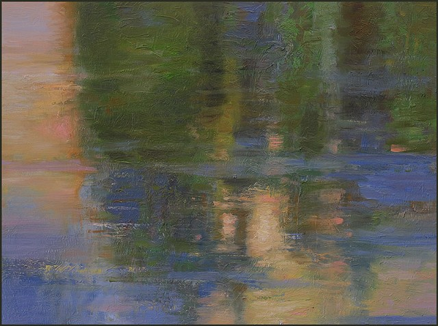 oil, impressionist, nature, water, ice, reflections, trees, abstract, representational