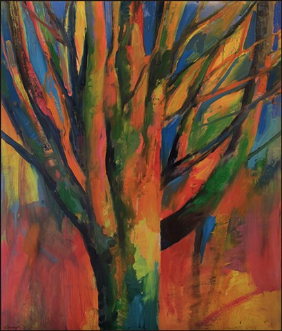 tree, abstract tree, colorful, painterly, contemporary art, large painting, expressionist, organic, nature