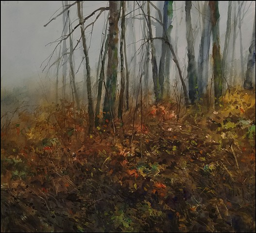 watercolor, nature, trees, oak trees, alders, fog, landscape, realist, pacific_northwest