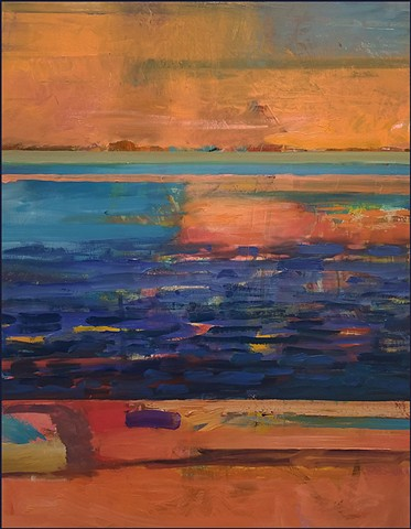 oil painting, abstract, orange, blue, seascape, painterly, brushstrokes