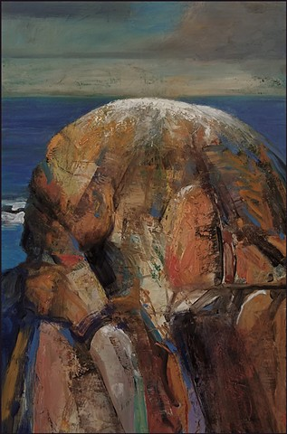 oil painting, abstract, representational, seascape, ocean, island, surreal, sunset, rocks, stone, contemporary art, painterly, brushstrokes, contemporary art,