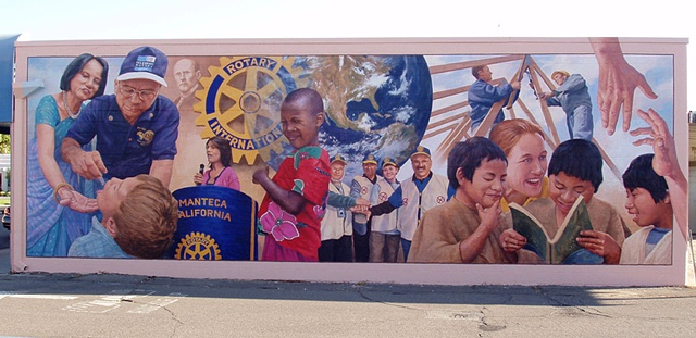 Mural, exterior mural, montage, Rotary projects, figurative, colorful