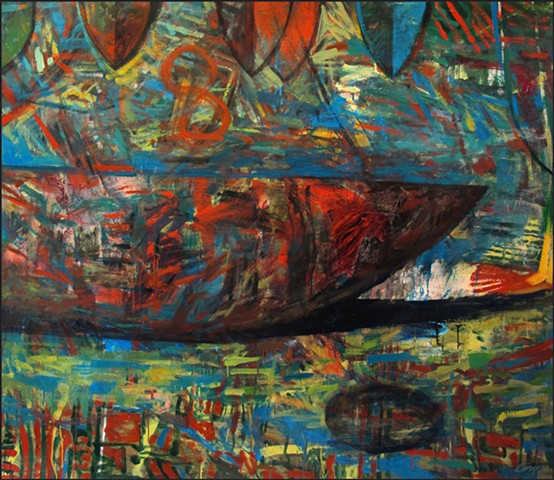 saturated color,  abstract, figurative, expressionist, boat, colorful