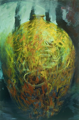 Gestural, semi-abstract, large yellow vessel form, swirling, painterly
