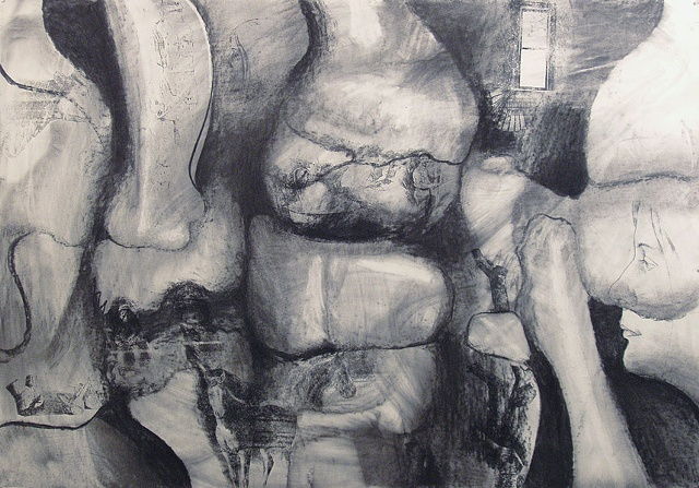 Large drawing, organic forms, stone, bone, figures