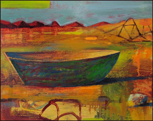 saturated color,  abstract, figurative, expressionist, boat, colorful, whimsical