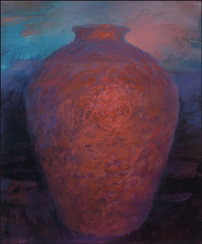 vessel, pot, pottery, abstract, figurative, mysterious, urn, vase, earth, glowing, sunset, evening