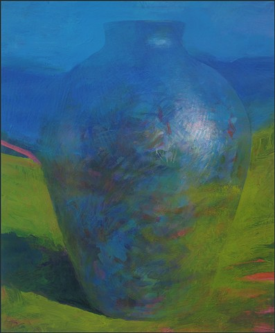 vessel, pot, pottery, abstract, figurative, mysterious, urn, vase, earth, dissolving, blue, green