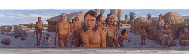 Mural, exterior mural, Indian village scene, California