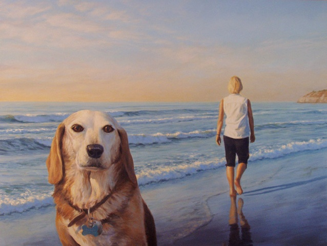 Large oil painting, ocean, southern California, beach, seascape, dog, woman walking.