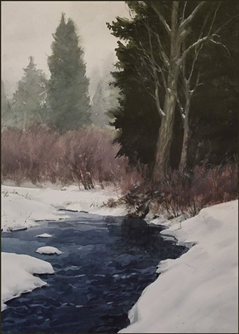 watercolor, landscape, snow scene, creek, stream, forest, woods, realist, realism, nature