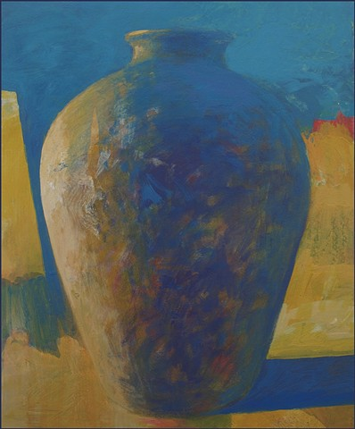 vessel, pot, pottery, abstract, figurative, mysterious, urn, vase, earth, landscape, sunlight, yellow, blue