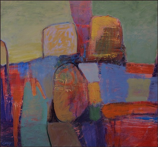 oil, abstract, colorful, painterly, color blocks, interlocking