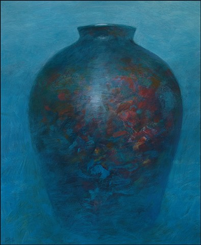 vessel, pot, pottery, abstract, figurative, mysterious, urn, vase, blue, curves