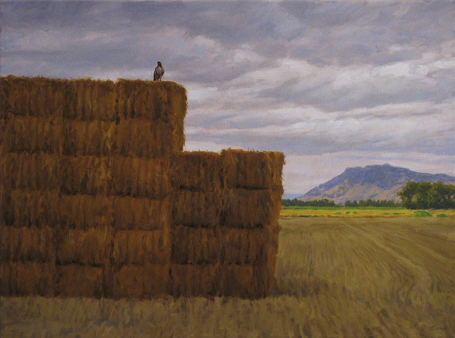 Farm landscape with haystack, mountains and perching hawk.