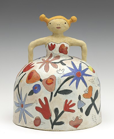Ceramic figure dress flowers princess by Sara Swink