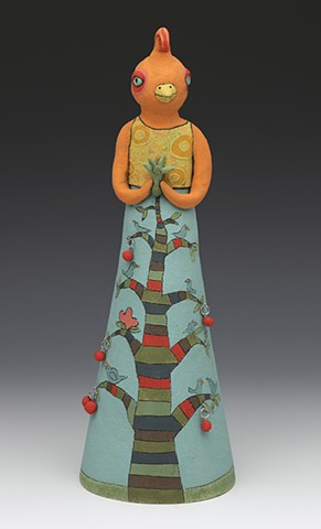 ceramic bird chicken tree sun flower stripes by Sara Swink