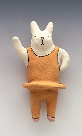 ceramic figure animal bunny rabbit ballerina by Sara Swink