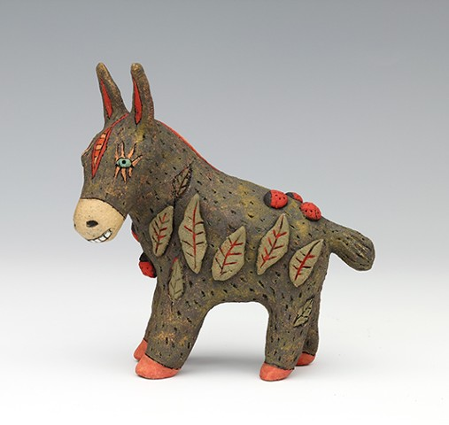clay ceramic sculpture animal donkey by sara swink