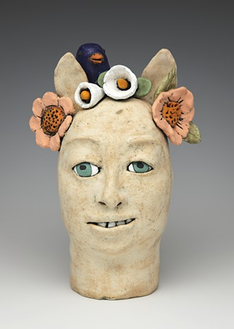 clay ceramic pottery head figure bluebird flowers lilies by sara swink