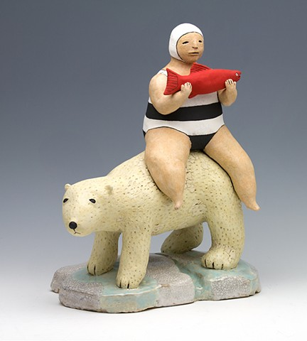 ceramic figure polar bear salmon bather swimmer stripes by Sara Swink