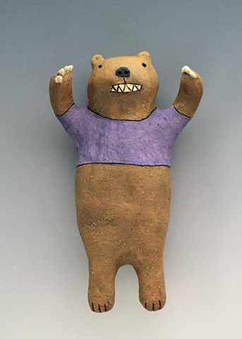 ceramic figure bear wall art pottery by Sara Swink