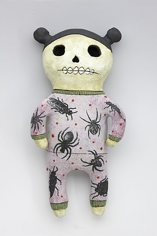 ceramic figure day of the dead spider pajamas pigtails skeleton by Sara Swink