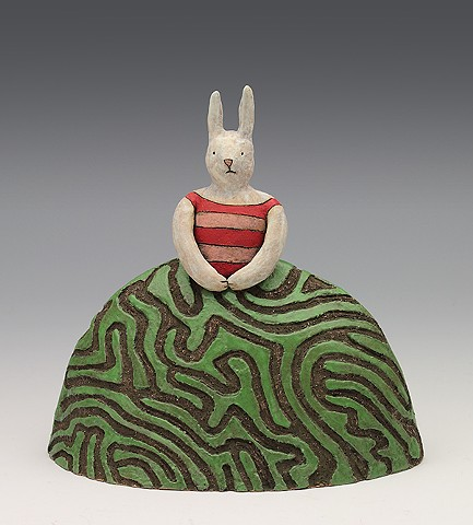 ceramic figure bunny rabbit hedge maze by Sara Swink