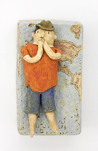 ceramic figure clay earth world map hat by Sara Swink
