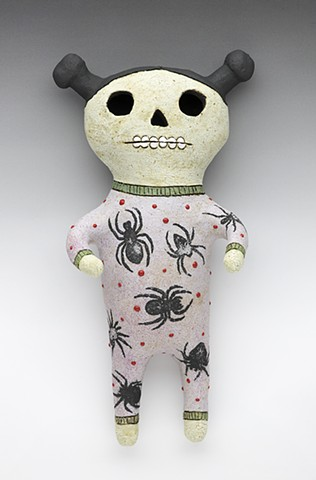 Ceramic figure clay Day of the Dead pajamas spiders Wally by Sara Swink