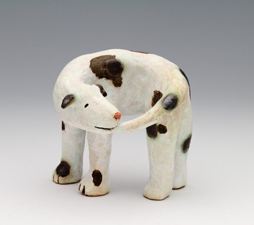 clay ceramic sculpture animal dog by sara swink