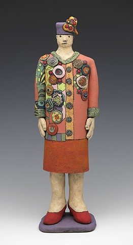 ceramic figure woman coat jacket hat heels by Sara Swink