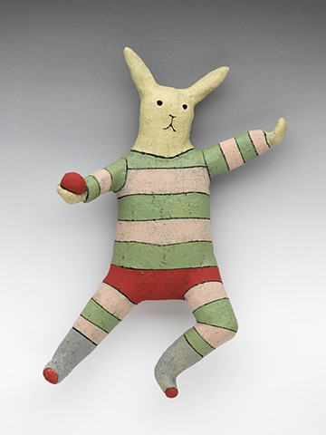 ceramic figure clay leaping rabbit stripes ball Wally by Sara Swink