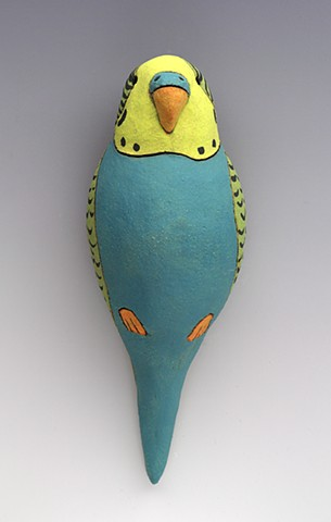 ceramic figure parakeet budgie Wally by Sara Swink