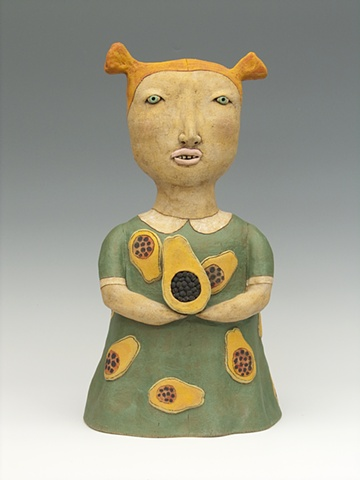 clay ceramic sculpture girl holding fruit by sara swink