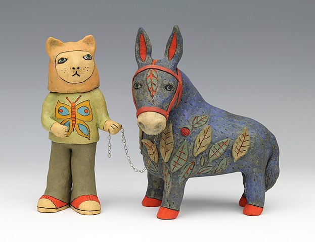 clay ceramic sculpture animal donkey cat by sara swink