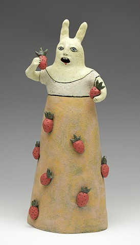 clay ceramic pottery figure rabbit strawberry juice by sara swink
