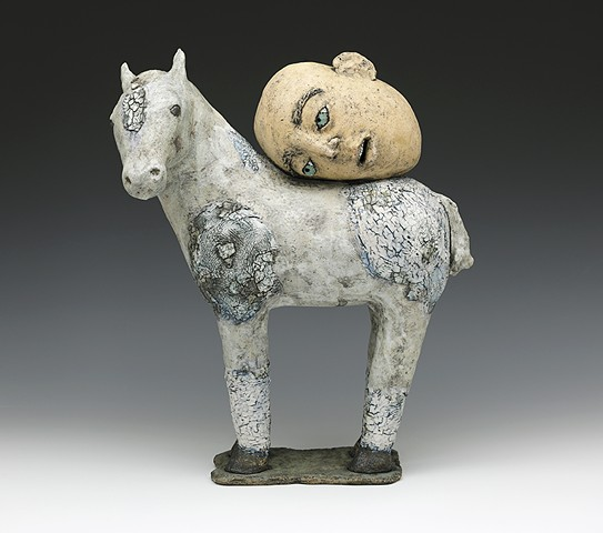 Crackle, horse, appaloosa, head, clay, pottery, sculpture