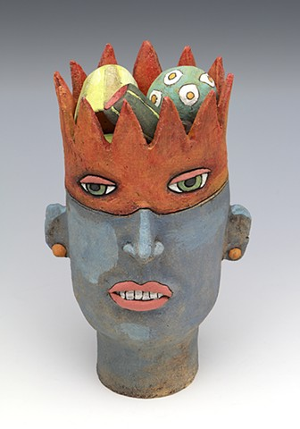 clay ceramic sculpture head crown fruit by sara swink